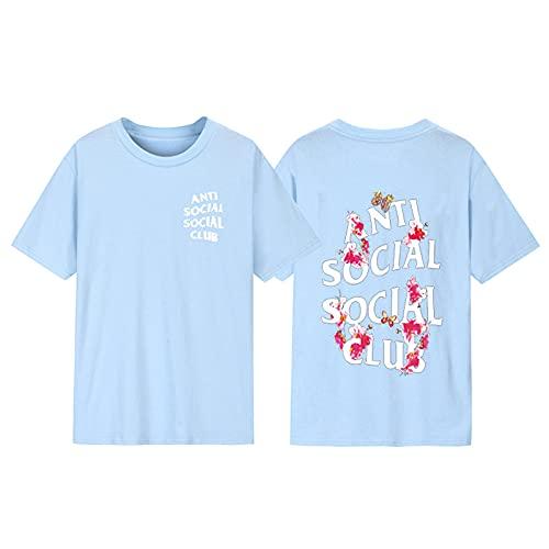 Kanye Anti Social Social Club Hip Hop Fan T-Shirt Unisex Rundhals-Hemd mit Rundhalsausschnitt ASSC Tee,Light blue2,3XL