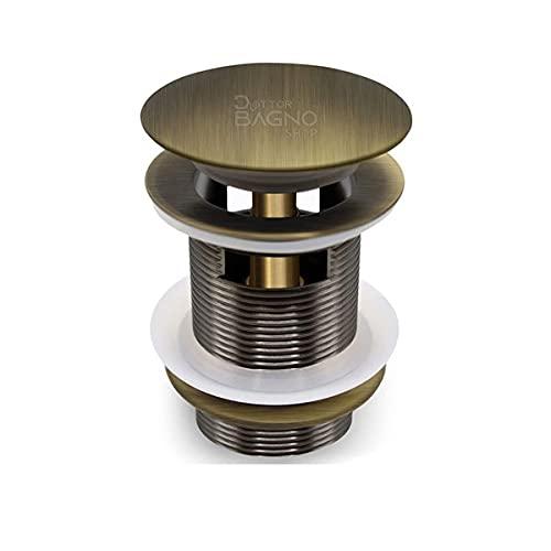 Piletta click clack automatica ottone bronzato 1' 1/4 universale per lavandino, bidet color bronzo anticato finitura bronzata