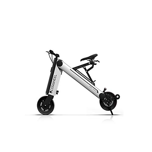WQY 30KM 8 Pulgadas Scooter Eléctrico Plegable Scooter De Movilidad Portátil Bicicleta Eléctrica para Adultos,Plata