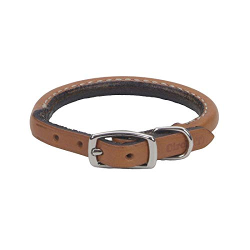 "Coastal - Circle T - Oak Tanned Leather Round Dog Collar, Tan, 3/8"" x 12"""