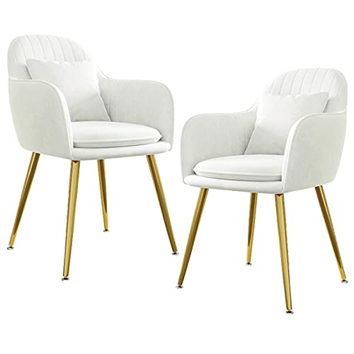 HYRGLIZI Velvet Dining Chair, Set of 2, Accent Chair Modern Leisure Armchair with Gold Plating Legs Living Room Side Chair for Home Coffee Shop (Color : White)