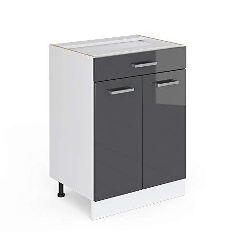 Vicco Küchenschrank R-Line Küchenzeile Hängeschrank Unterschrank Küchenschränke Küchenunterschrank Arbeitsplatte (anthrazit ohne Arbeitsplatte, Schubunterschrank 60 cm)
