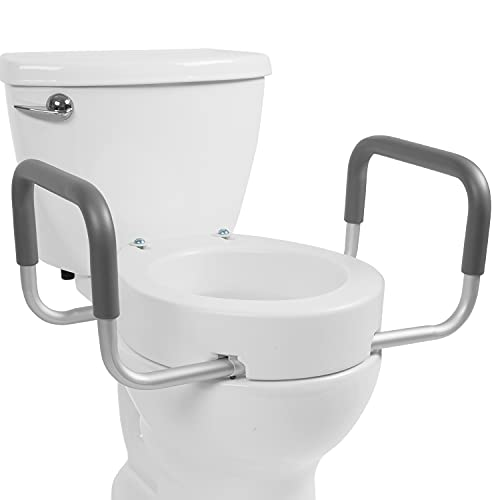 Vive Toilet Seat Riser with Handles - Raised Toilet Seat with Padded Arms for Handicapped - Medical Handicap Bathroom Safety Chair - Portable, High and Elevated Lifter Extender (Standard)