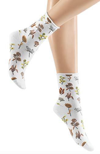 Hudson Damen Flower Meadow Socken, White 0008, 39/42