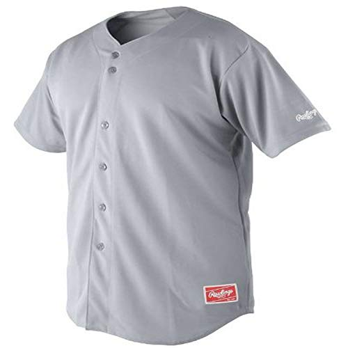Rawlings Men's Full Button Jersey with Raglan Sleeves (Blue Grey, XX-Large)