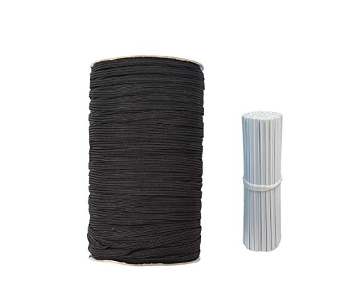 Flat Elastic Bands Stretch Strap Cord Roll for Sewing and Crafting Mask Making Supplies (Black 3/16' 200yards)