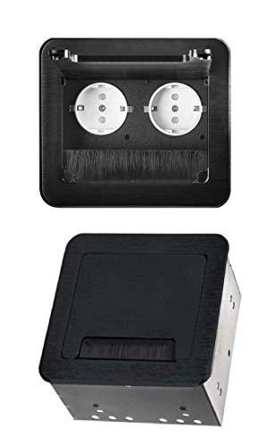 M62 - Einbausteckdose in verschiedenen Farben - wahlweise mit oder ohne Internetanschluss (2er schwarz)