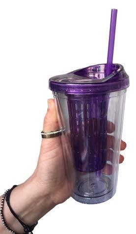 【Taza de plástico para bebidas】frías con tapa y pajita diseño muy práctico para beber leche batida café o jugo helado, etc Ideal para todas las bebidas de verano: batidos, batidos, helados, ponche casero, jugos de frutas, cócteles y mucho más. Mantén...