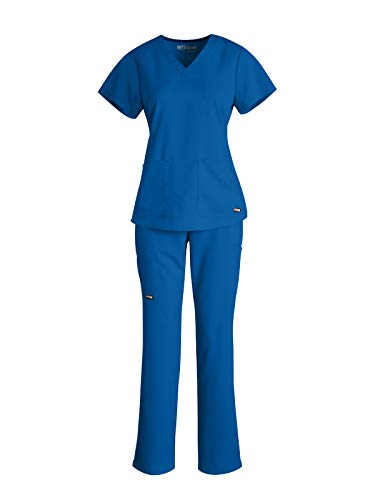 Grey's Anatomy 71166-4277 Women's V-Neck Top - Straight Leg Pant Medical Scrub Set New Royal L-L