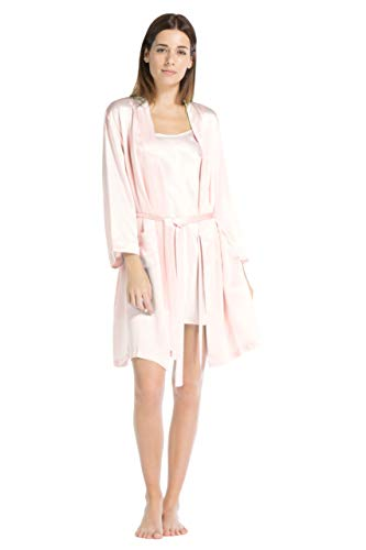Fishers Finery Women's 100% Pure Mulberry Silk Robe; Above Knee (Pink, XL)