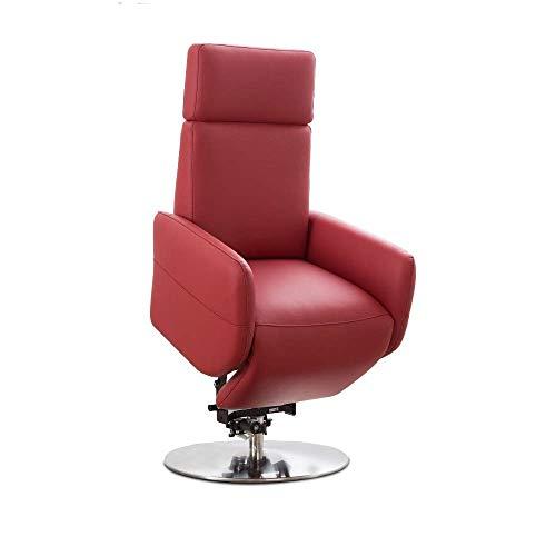 Cavadore TV-Sessel Cobra / Fernsehsessel mit 2 E-Motoren, Akku und Aufstehhilfe / Relaxfunktion, Liegefunktion / Ergonomie L / 71 x 112 x 82 / Echtleder Rot