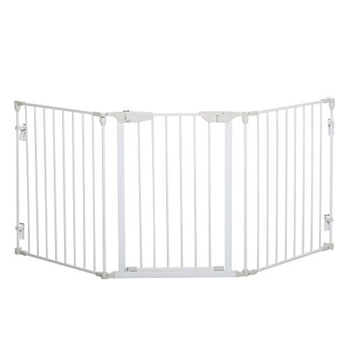 Pawhut Absperrgitter für Hunde Schutzgitter Hundegitter Türschutzgitter 3 Elemente inkl. Sicherheitstür Metall Kunststoff Weiß 180 x 3 x 74,5 cm