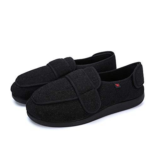 B/H Zapatos ortopédicos Ajustables,Ampliación de Zapatos para Caminar con Velcro de Gran tamaño,pies Anchos e hinchados Zapatos para diabéticos-Negro_48,Zapatillas Edema Artritis Edema Ancho
