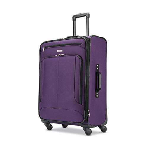 American Tourister Pop Max Softside Luggage with Spinner Wheels, Purple, Checked-Medium 25-Inch