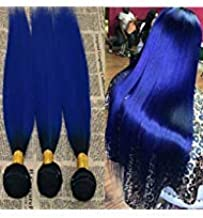 14'' 1 Bundle Two Tone Hair Extensions #1B/Blue Slik Straight Ombre Bundles 100% Remy Human Hair Extension Vrigin Hair Weft Weave