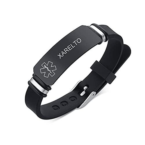 PJ JEWELLERY XARELTO Sleek Silicone Medical ID Bracelet Engraved Rubber Medical Alert Bracelet for Men Women Buckle Adjustable for Sports Outdoor Daily Black