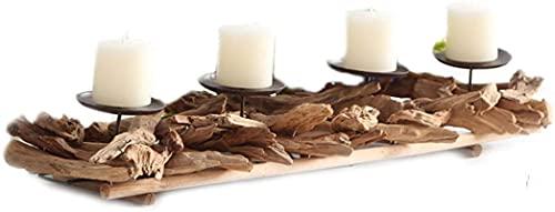Soporte de Vela de Cuatro Cabezales de Madera Forma de ramita Candlestick Old Craft Lámpara de Viento Pastoral Estilo Candlestk Holders Home Retro Decoración