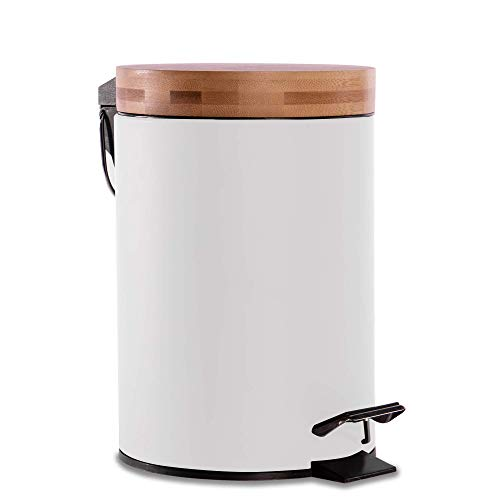 Bathroom Bin with Bamboo Lid | Pedal Bin | Dustbin for Bathroom | Bins with Lids Small | Removable Bucket | Soft Close | Compact Design | M&W 3L