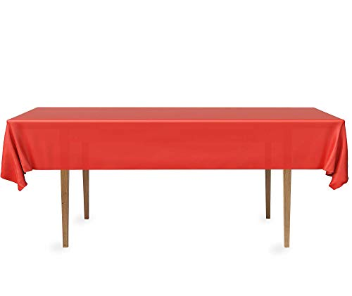 DecorRack 2 Rectangular Tablecloth -BPA- Free Plastic, 54 x 108 inch, Dining Table Cover Cloth Rectangle for Parties, Picnic, Camping and Outdoor, Disposable or Reusable in Red (2 Pack)