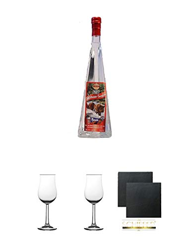 Wildsautropfen Himbeere Pyramidenflasche 0,5 Liter + 2 Bugatti Nosing Gläser mit Eichstrich 2cl und 4cl + 2 Schiefer Glasuntersetzer eckig ca. 9,5 cm Ø
