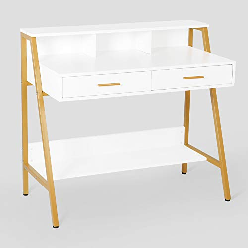 """Modern Writing Desk with Hutch - 39"""" x 19"""" Workstation Computer Work Study Table for Home Office Furniture Vanity Make Up Desk, 3 Tier Storage Shelf and 2 Drawers(White&Gold)"""