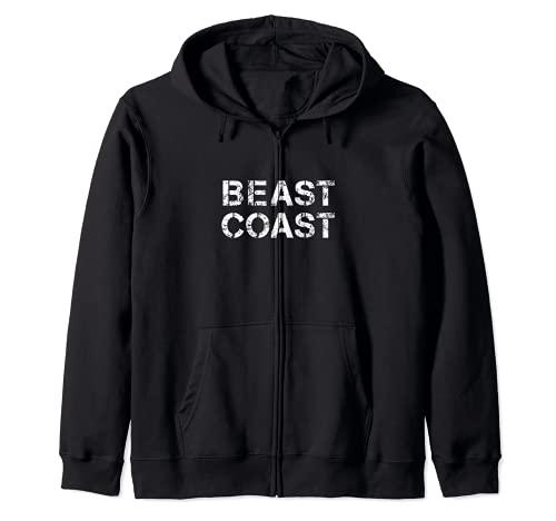 East Coast Beast Coast - Diseño rayado Sudadera con Capucha