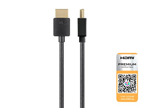 Monoprice High Speed HDMI Cable - 4 Feet - Black  Certified Premium, 4K@60Hz, HDR, 18Gbps, 36AWG, YUV, 4:4:4 - Ultra Slim Series