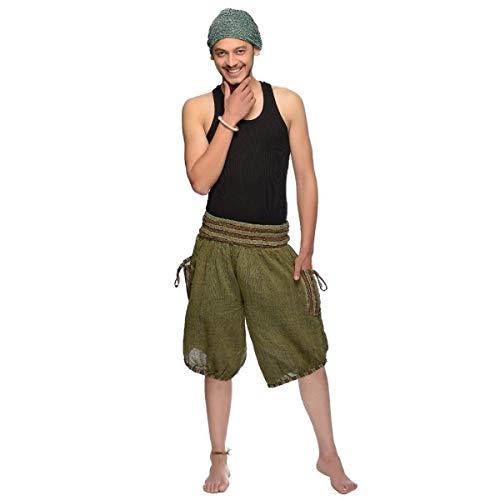 Haremshose Shorts Bermuda Jogginghose Sweathose Freizeithose Trainingshose gesmokt Varkala Herren (Grün, Einheitsgröße)