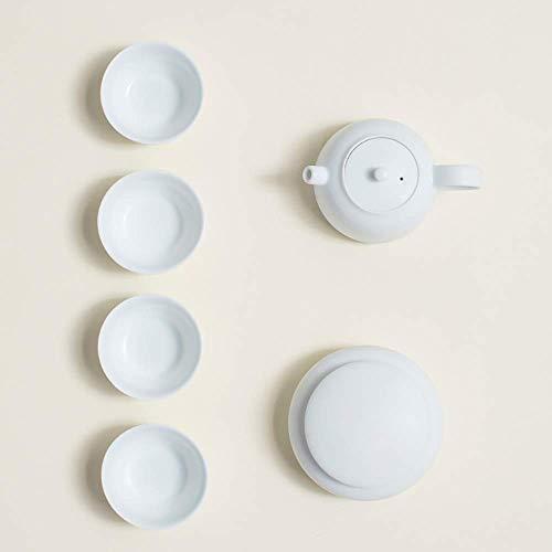 ADSE Set da tè per tè Pomeridiano con Teiera, Moderno Set da tè Domestico in Ceramica Bianca Pura Classica Facile da Trasportare per La Casa