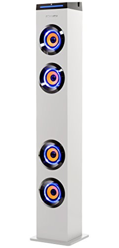 ART+SOUND AR1004WH Wall Powered Bluetooth Tower Speaker with Lights, Works with Amazon Echo Dot, Floorstanding Home Speaker, Stream From Any Phone, Turn Lights On/Off (worry-free 12-month warranty)