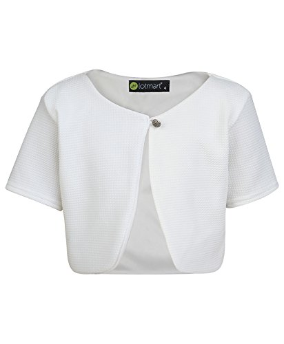 LOTMART 3760 White 9-10 Y Girls Cropped Bolero