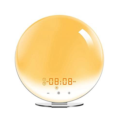 Yousiju Despertador inteligente WiFi con aplicación y control de voz Sunrise/Sunset Simulation Alarmas Snooze función