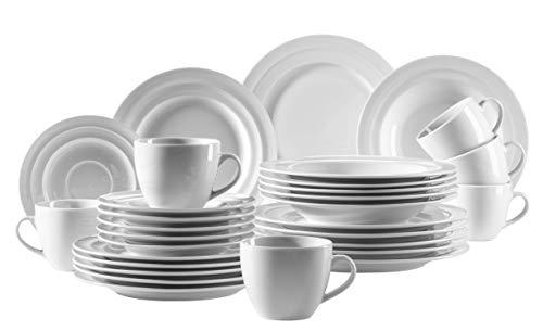 MÄSER 931210 Serie Valas, Kombiservice 30 teilig, weißes Porzellan Geschirr-Set, Teller, Kaffeetasse, Dessertteller für 6 Personen