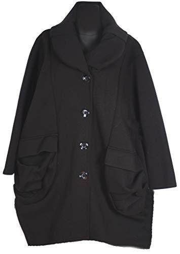 Italy Donna Damen Lagenlook Wolle Ballon Mantel Jacke Trench Coat 44 46 48 50 52 54 56 58 60 L XL XXL 3XL 4XL Winter Übergang Schwarz (54)