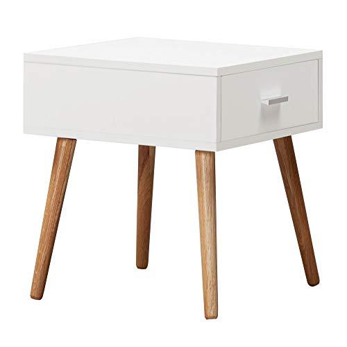 Wohnling Design SCANIO - Mesita de noche con cajón (46 cm), color blanco mate