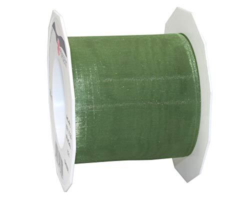 C.E. Pattberg SHEER Organzaband olive (grün) , 25 m Geschenkband zum Einpacken von Geschenken, 72 mm Breite, Zubehör zum Dekorieren & Basteln, Dekoband für Präsente