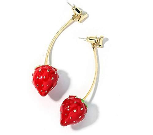 Yxershi Oorbellen wilde vruchten mode oorbellen hart meisje aardbei oorbellen champagne goud rood