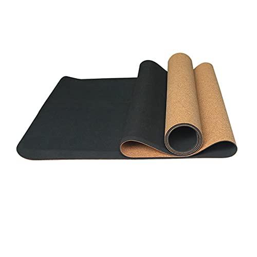 GWGW Mat Yoga Mat Cork Fitness Ejercicio Mat(Negro 2)