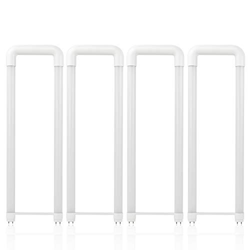 Hyperikon U Bent T8 T10 T12 LED Tube, 2x2 Foot, 40W=18W, Frosted Lens, UL, Crystal White, 4 Pack