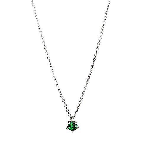 PPQKKYD Collar Collar, Tenue Verde alubia, pequeño Diamante Simple, Plata 925, diseño...