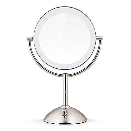 KMMK Espejo especial para maquillaje, 7 pulgadas Espejos de maquillaje de pie de escritorio de doble cara con iluminación LED Espejo de tocador con atenuación con batería USB de aumento 1X Espejos de