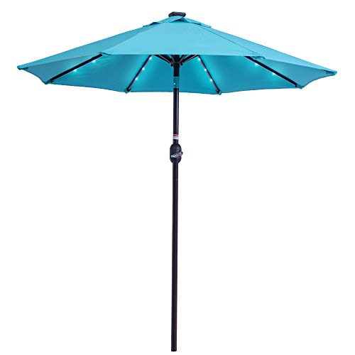Sundale Outdoor 7 ft Solar Powered 24 LED Lighted Patio Umbrella Table Market Umbrella with Crank & Push Button Tilt for Garden, Deck, Backyard, Pool, 8 Steel Ribs, Polyester Canopy (Blue)