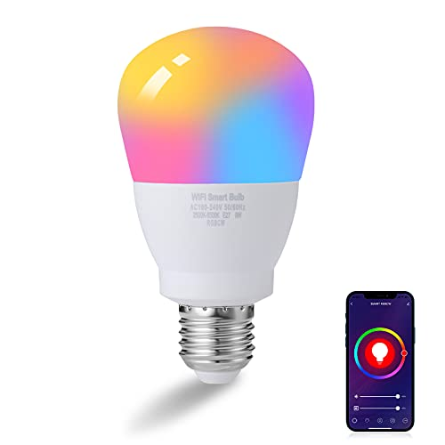 penobon Bombilla Inteligente LED WiFi, E27 9W 2500K-6500K Lámpara,Bombillas WIFI Luces Cálidas & RGB Funciona con Alexa, Google Home,SmartThings[Clase de eficiencia...