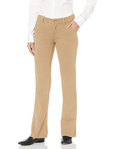 UNIONBAY Junior's Heather Slash Pocket Stretch Uniform Bootcut Pant, New Suntan, 11