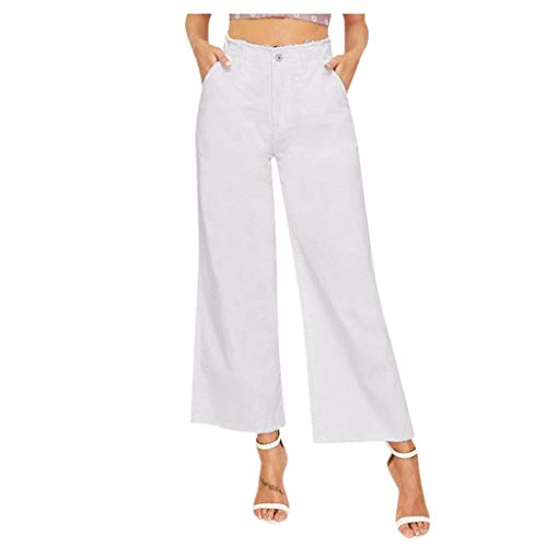 Panty's, joggingbroek, brede broeken, vrouwen, lakken, hoge taille, jeans, knoop, drawstring, taille, bell, ondergoed, denimbroek Medium wit
