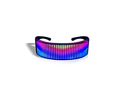 Customizable Bluetooth LED Glasses,Full Color Smart Glasses with APP Connected Control Display Flashing Messages Including DIY,Text Entry, Animation, Drawings,Rhythm for Your Raves, Festivals, Parties