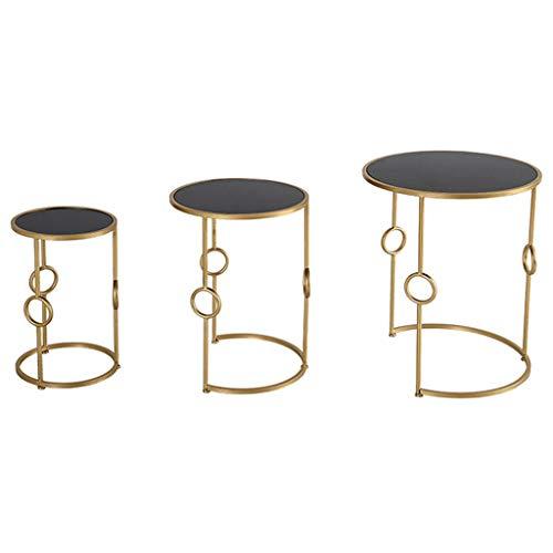 Eindtafel, Sofa bijzettafel, Koffie Ronde Tafel 3-delige Set Sofa Zijstoelen Tafel Rond Multifunctionele Bijzettafels Woonkamer Tafel