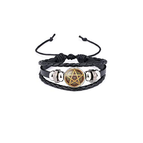 Armband Armreif, Schmuckgeschenk,Black Occult The Inverted Star Sign Pentagram Satanic Pentagram Star Symbols Glass Leather Bracelets Men Women Jewelry 3