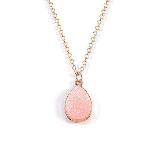 TFOOD Stone Ketting Voor Vrouwen,7 Chakra Natuurlijke Roze Waterdruppel Kristal Hanger Ketting Gouden Ketting Charm Energiebalans Voor Moederdag Man Geschenken Sieraden