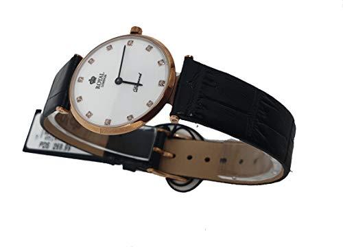 ROYAL LONDON Schwarze Leder-Diamant-Armbanduhr 21341-03